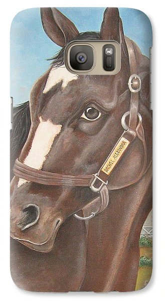 Galaxy Case featuring the painting Rachel Alexandra At Stonestreet Farms by Patrice Torrillo