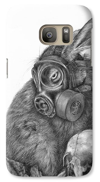 Galaxy Case featuring the drawing Radioactive Black And White by Penny Collins