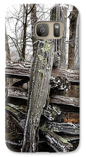 Galaxy Case featuring the photograph Rail Fence With Ice by Daniel Reed