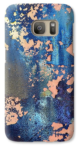 Galaxy Case featuring the photograph Rail Rust - Abstract - Iridescent Blue by Janine Riley