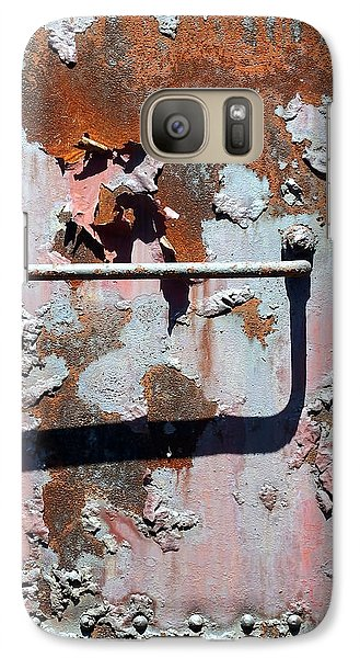 Galaxy Case featuring the photograph Rail Rust - Abstract - Make It Pink by Janine Riley