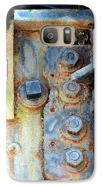 Galaxy Case featuring the photograph Rail Rust - Abstract - Nuts And Bolts by Janine Riley