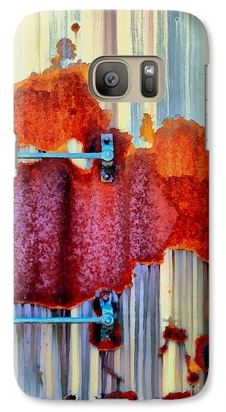 Galaxy Case featuring the photograph Rail Rust - Abstract - Studs And Stripes by Janine Riley