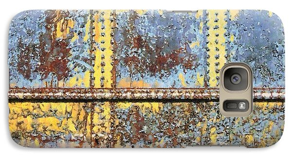 Galaxy Case featuring the photograph Rail Rust - Abstract - Yellow In 3 by Janine Riley