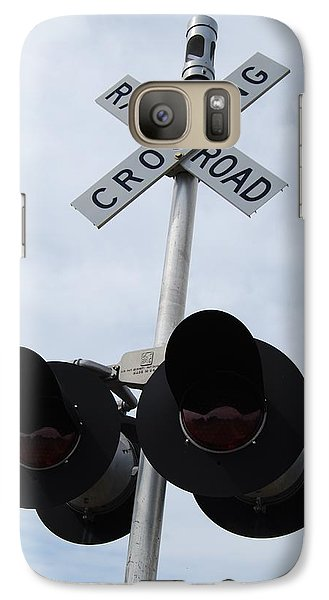 Galaxy Case featuring the photograph Railroad Crossing by Ramona Whiteaker