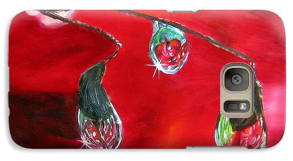 Galaxy Case featuring the painting Rain Drops Study by LaVonne Hand