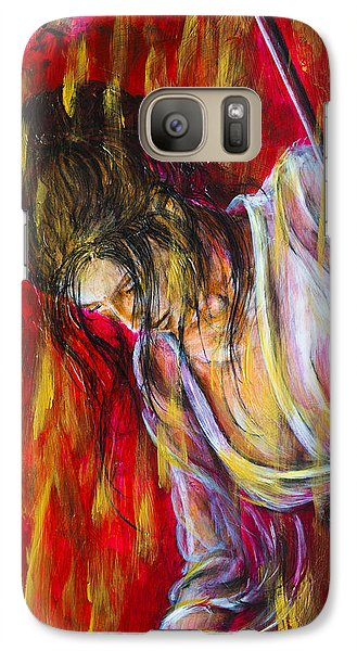 Galaxy Case featuring the painting Rain Geisha Red by Nik Helbig