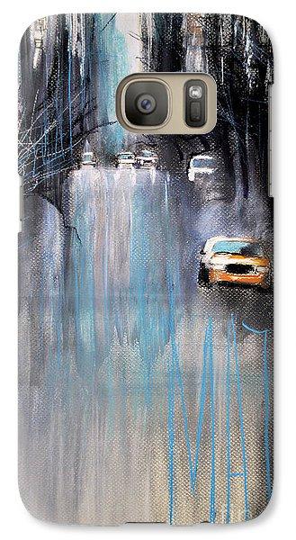 Galaxy Case featuring the drawing Rain In New York by Maja Sokolowska