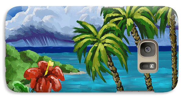 Galaxy Case featuring the painting Rain In The Islands by Tim Gilliland