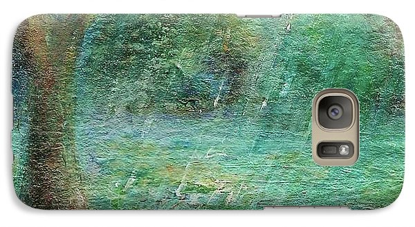 Galaxy Case featuring the painting Rain On The Pond by Mary Wolf