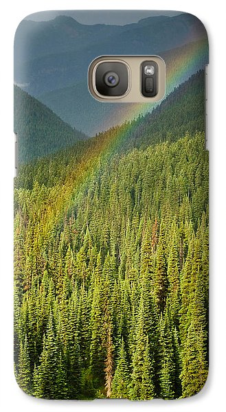 Galaxy Case featuring the photograph Rainbow And Sunlit Trees by Jeff Goulden
