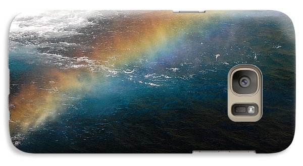 Galaxy Case featuring the photograph Rainbow At Waterfall Base by Debra Thompson