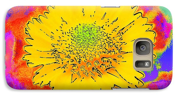 Galaxy Case featuring the painting Rainbow Colored Sunshine Flower- Because I'm Happy by David Mckinney