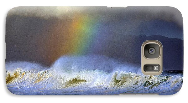 Galaxy Case featuring the photograph Rainbow On The Banzai Pipeline At The North Shore Of Oahu by Aloha Art