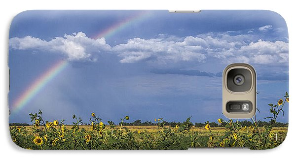 Galaxy Case featuring the photograph Rainbow Over Sunflowers by Rob Graham