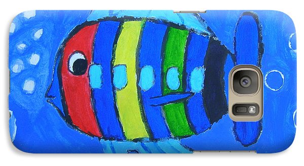 Galaxy Case featuring the painting Rainbow Submarine Fish by Artists With Autism Inc