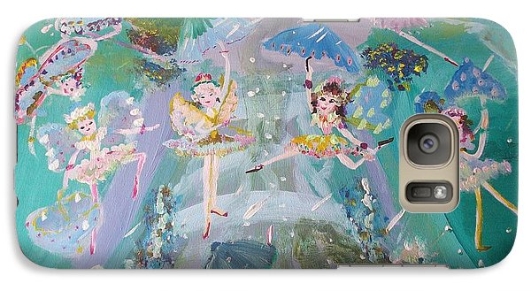 Galaxy Case featuring the painting Raindrop Fairies by Judith Desrosiers