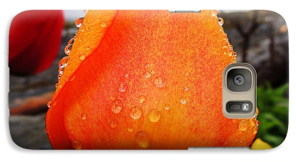 Galaxy Case featuring the photograph Raindrop Tulip by Karen Horn