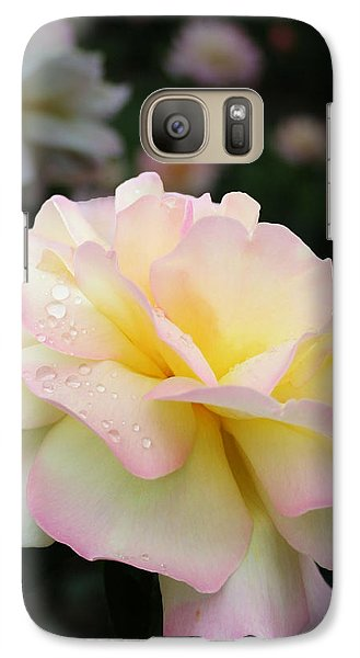 Galaxy Case featuring the photograph Raindrops On Rose Petals by Barbara McMahon