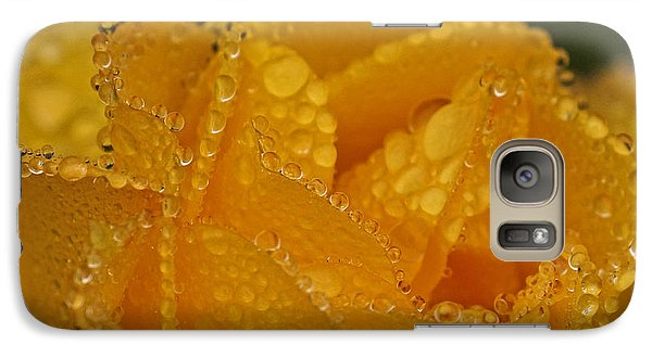 Galaxy Case featuring the photograph Raindrops On Yellow Rose by Inge Riis McDonald