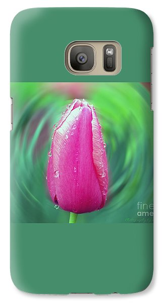 Galaxy Case featuring the photograph Rained Upon Pink Tulip by Gena Weiser