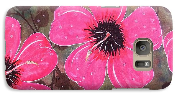 Galaxy Case featuring the painting Rainey Day Pink Hibiscus by Cindy Micklos