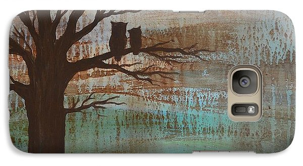 Galaxy Case featuring the painting Rainy Day Owls by Agata Lindquist