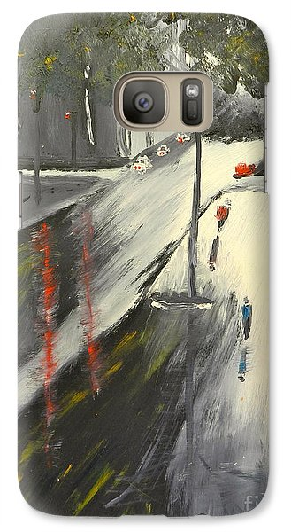 Galaxy Case featuring the painting Rainy Street In Melbourne by Pamela  Meredith