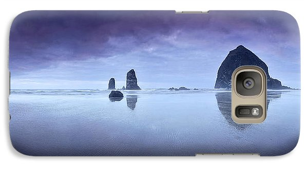 Galaxy Case featuring the photograph Rainy Sunset Over Cannon Beach by Sebastien Coursol