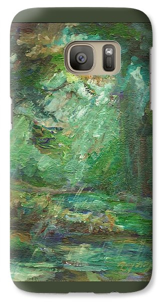 Galaxy Case featuring the painting Rainy Woods by Mary Wolf