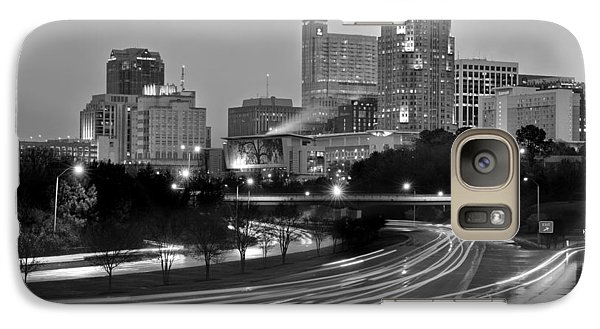 Galaxy Case featuring the photograph Raleigh Skyline At Dusk Evening Black And White Bw Evening Panorama North Carolina Nc by Jon Holiday