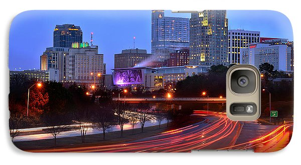 Galaxy Case featuring the photograph Raleigh Skyline At Dusk Evening Color Evening Panorama North Carolina Nc by Jon Holiday