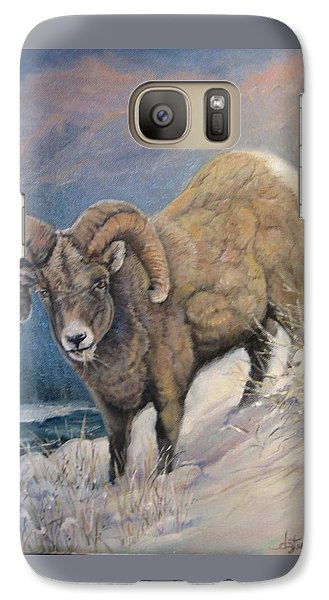 Galaxy Case featuring the painting Ram In The Snow by Donna Tucker