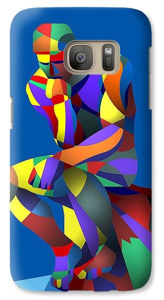 Galaxy Case featuring the digital art Randy's Rodin Blue by Randall Henrie