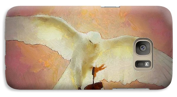 Galaxy Case featuring the digital art Rare White Goshawk by Carrie OBrien Sibley