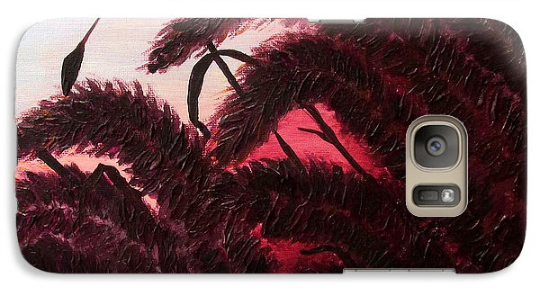 Galaxy Case featuring the painting Raspberry Sunset Original Ornamental Grass Fine Art Print By Penny Hunt by Penny Hunt