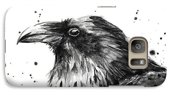 Raven Galaxy S7 Case - Raven Watercolor Portrait by Olga Shvartsur