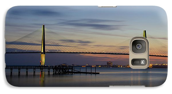 Galaxy Case featuring the photograph Ravenel Bridge Nightfall by Dale Powell
