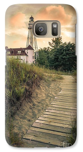 Galaxy Case featuring the photograph Rawley Point Lighthouse Under Smoldering Skies by Mark David Zahn