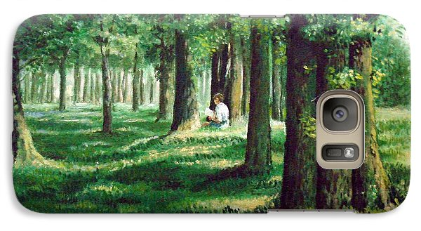 Galaxy Case featuring the painting Reader In The Park by Laila Awad Jamaleldin