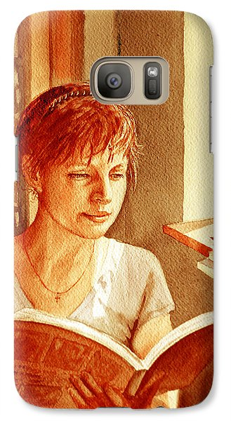 Galaxy Case featuring the painting Reading A Book Vintage Style by Irina Sztukowski