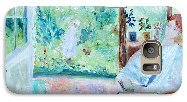 Galaxy Case featuring the painting Reading By The Garden by Aleezah Selinger