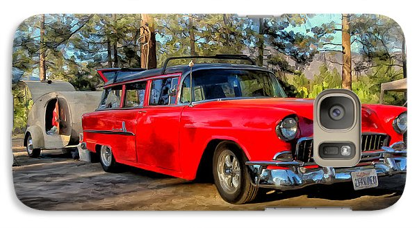 Galaxy Case featuring the painting Red '55 Chevy Wagon by Michael Pickett