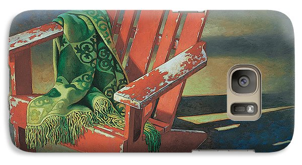 Galaxy Case featuring the painting Red Adirondack Chair by Mia Tavonatti