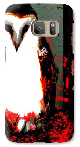 Galaxy Case featuring the digital art Red And Black Owl Art by John Fish