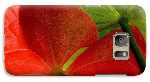 Galaxy Case featuring the photograph Red And Green Anthurium by Ranjini Kandasamy