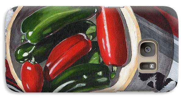 Galaxy Case featuring the painting Red And Green Peppers by Laura Forde