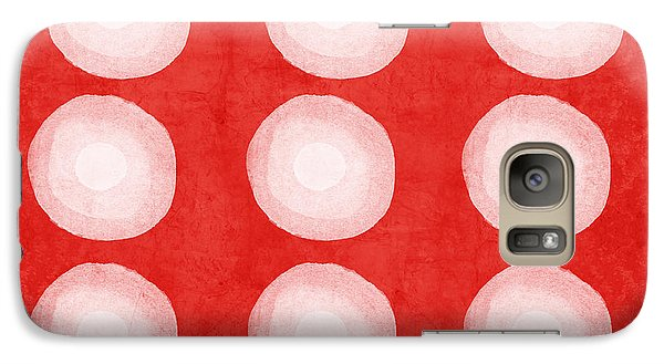 Red And White Shibori Circles Galaxy S7 Case by Linda Woods
