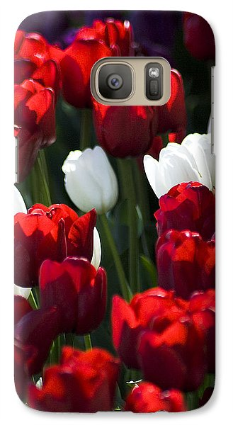 Galaxy Case featuring the photograph Red And White Tulips by Yulia Kazansky