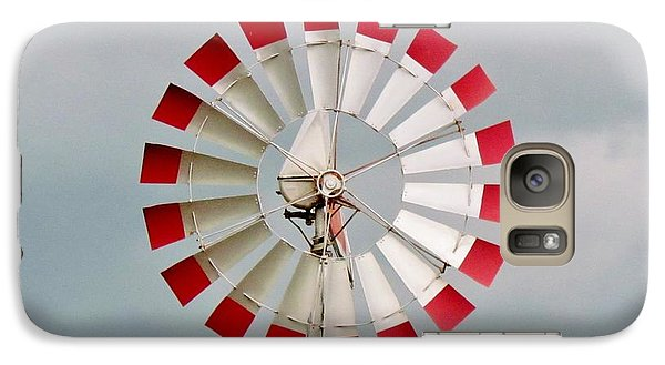 Galaxy Case featuring the photograph Red And White Windmill by Cynthia Guinn